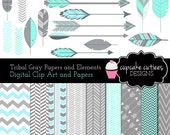 Tribal Gray Days  - Blue/ Gray-   Digital Clipart Elements  Paper Set Commercial use Instant Download