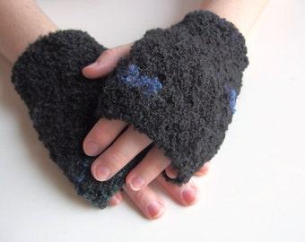 BlackUnisex Mitts, Handmade Crochet Fingerless Gloves, Wrist Warmers For Adults
