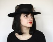 Wide Brimmed 100% Black Wool Hat/Brown,Black,Spotted Feathers