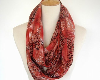 Silky Infinity Scarf Orange Rust Black and White Leopard Design Fabric