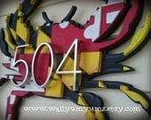 Large 3D Maryland FLAG CRAB WITHOUT numbers Wooden Faux Vintage Look Plaque 20x15 Layered Wood Wall Sign