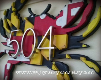 Large 3d Maryland Flag Crab Without Numbers Wooden Faux