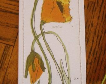 Watercolor Bookmark Orange Poppies