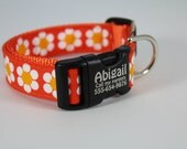 Tangerine Daisy Dog Collar Personalized Engraved Buckle Laser Technology Custom Made in USA