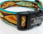 Vintage Style Surf Boards Unisex Dog Collar Hana Hou Magazine Cover Model Personalization Buckle Turquoise Webbing Surfer Dog