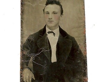 Antique Tinted Tintype Photo Handsome Young Man With Rosy Cheeks Vintage Tin Type Photograph