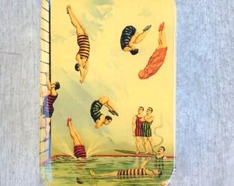 Treasure box, gift tin, large pill box, Vintage pearl divers