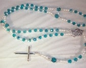 Swarovski Crystal & Pearl Rosary with Sterling Silver Medal and Cross  - Catholic, Anglican, Jewish - Made to Order