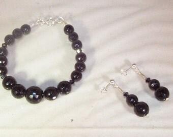 Gemstone and Swarovski Crystal Jewelry - Black Tourmaline - Bracelet and Earrings