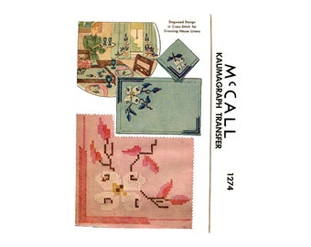 1940s Cross Stitch Pattern Dogwood Transfer McCalls 1274 Corner Designs Freehand Cross Stitch Napkins Place Mat Vintage Embroidery Pattern