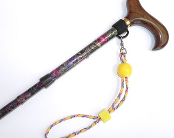 Cane Strap or Umbrella Strap - Yellow Pink Blue Cording with Yellow Beads - Large Round and Small Square on Multi Color Strap   CC10