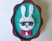 SALE Sam the Super-Smart Rabbit EcoFelt Brooch with Hand-Carved Wooden Back
