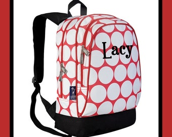 Monogram Backpack and Lunch Bag Set - Wildkin - Personalized - Big Dot Red - Back to School Elementary