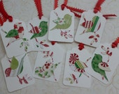 Christmas gift tags birdies on a branch nature themed christmas colors red and green tags - set of 8