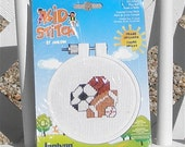 Play Ball Counted Cross Stitch Kit With Hoop Frame by Kid Stitch Soccer Basketball Football Baseball