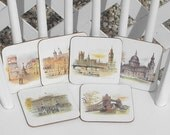 London Scenes Cork Backed Coasters Table Mats by Clover Leaf Set of Six Vintage