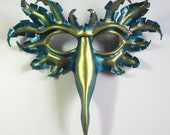 Bird mask in metallic turquoise and pale gold, hand-molded leather, peacock, bird of paradise, Halloween