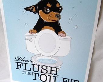 Flush Toilet Chihuahua - Black and Tan - 8x10 Eco-friendly Print
