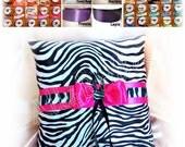 Zebra wedding ring bearer pillow, hot pink or custom colors.  Animal print wedding rign cushion
