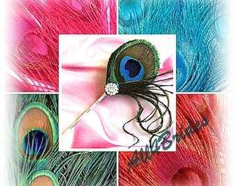Peacock Feather Bobby Pin Fascinator - Bridal or Bridesmaids peacock feather hair pin