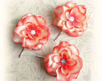 Coral hair flowers, bridal or bridesmaids flower hair pins