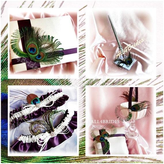 Peacock Feather Wedding Basket, pillow, guest book, pen, bridal garters, Peacock Feathers Purple Plum 6pc Set