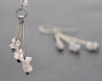 Sterling Silver Earrings, Long Rose Quartz and Silver Earrings with Handmade Sterling Silver Ear Wires, Oxidized Silver Dangle Earrings