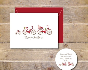 Christmas Cards . Holiday Card Set . Personalized Christmas Cards . Family Christmas Cards . Bikes  - Riding to Christmas Eve