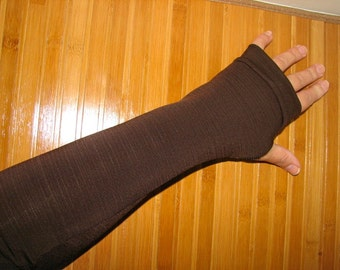 Elegant in Deep and Yummy Chocolate Brown Full Length Fingerless Gloves Arm Warmers