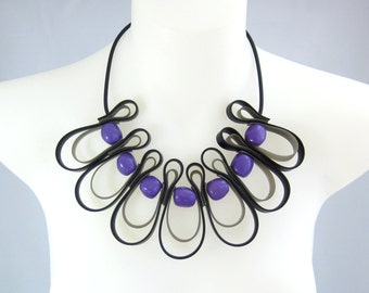 black, grey and purple bib necklace, designer fashion