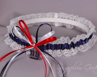 New York Giants Lace Wedding Garter - Ready to Ship