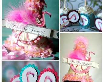 Flamingo Party Hat- Flamingo Cupcake Toppers- Flamingo Bridal Shower-Cake Toppers- Flamingo Party.