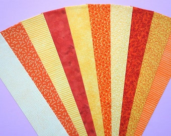 Fabric Orange Yellow Cotton Jelly Roll Quilting Strip Pack Material Die Cut 20 Strips (sku JR210-ORYEgd)