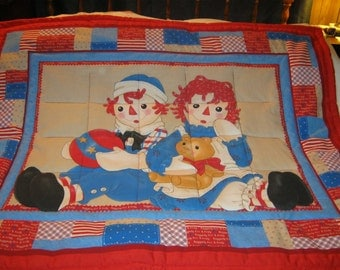 Baby Raggedy Ann and Andy Cotton Baby/Toddler Quilt-NEWLY MADE 2017