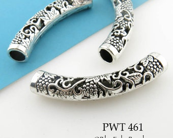 50mm Large Curved Pewter Tube Bead, Grape Clusters Engraved Tube Bead (PWT 461) 1 pc BlueEchoBeads