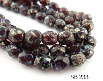 6mm Garnet Red Picasso Faceted, Fire Polished, Czech Glass Beads (SB 233) 25 pcs BlueEchoBeads