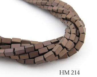 5mm Semi Matte Copper Hematite Rectangle Tube Beads, Semi Matte Finish, 5mm x 3mm (HM 214) BlueEchoBeads