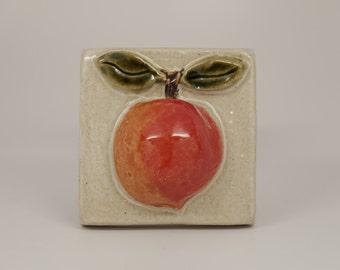 4x4 handmade ceramic peach tile