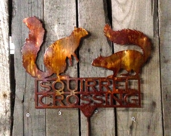 Squirrel Crossing Garden Stake (U7)