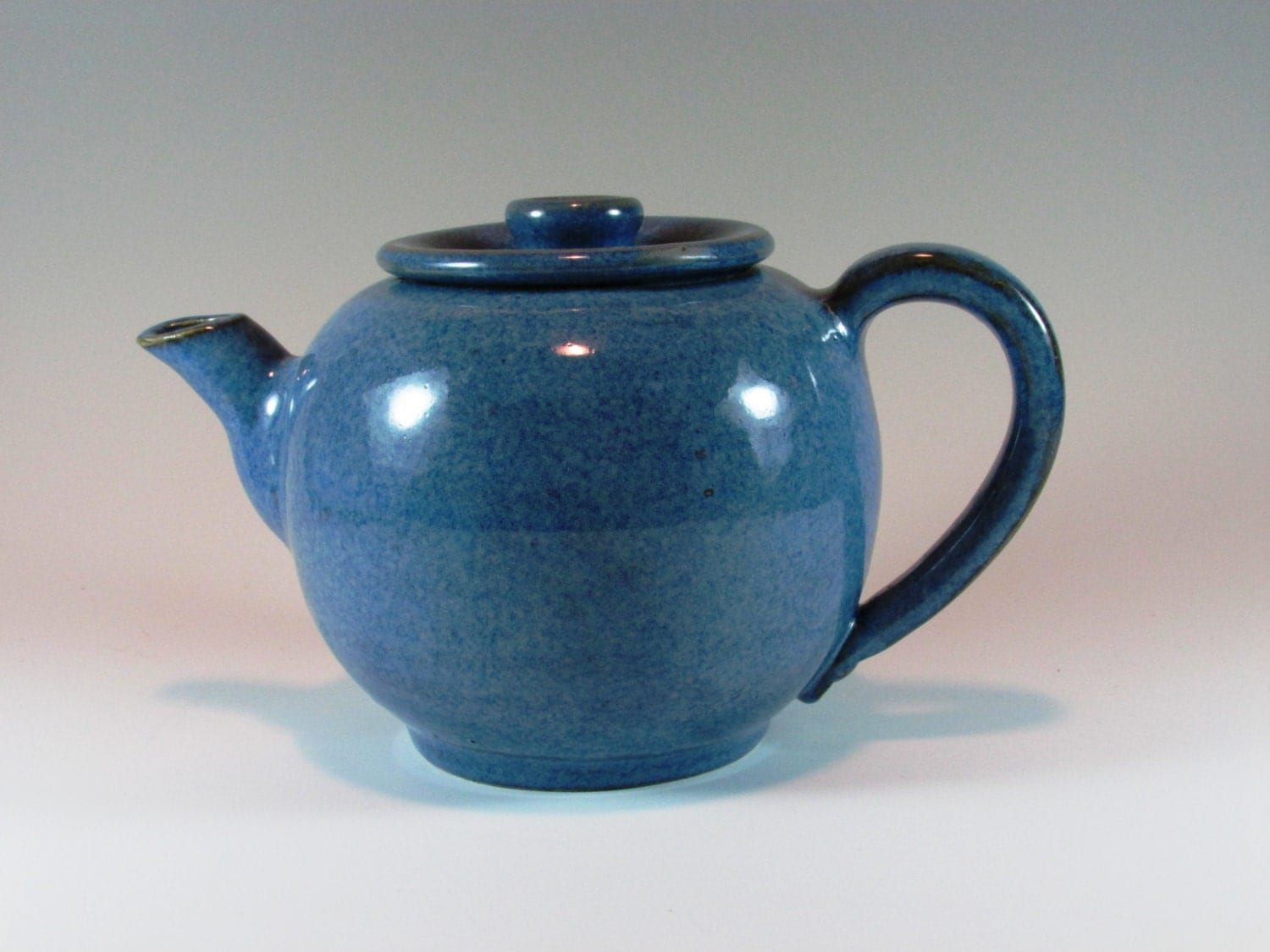 Large Denim Blue Ceramic Teapot Handmade Wheel Thrown