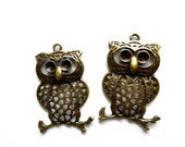 Owl Charms, Woodland Owl charm, Metal Owl Jewelry Parts, Owl on branch, DIY Owl Earrings, Metal Owl Supplies, Large Owl Pendants