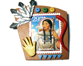 Sacagawea Pin Native American Handmade Polymer Clay Brooch US Postage Stamp American History Western Exploration Women's Studies Jewelry