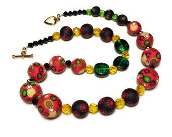 Colorful Asymmetrical Statement Necklace Handmade Polymer Clay Beaded Necklace Art Jewelry Canework Red Black Green Yellow Boho