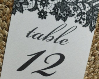 Black Lace Table Number Tent Cards