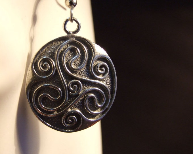 Celtic tricorn spiral circle earrings made with Australian Pewter and Surgical Steel hook R120