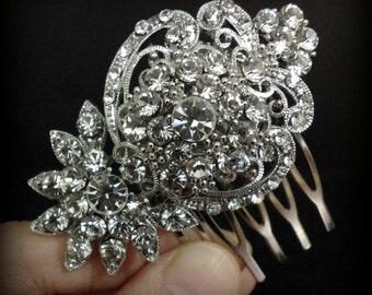 Crystal Bridal Hair Comb, Art Nouveau Bridal Hair Jewelry, Victorian Wedding Headpiece, Swarovski Bridal Headpiece, Gift for Her, CELESTA
