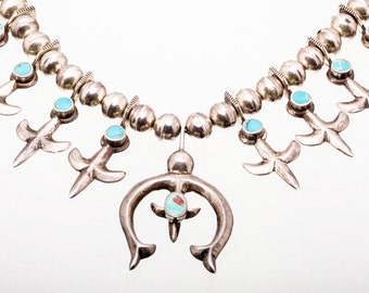 Old Navajo Turquoise Squash Necklace - Fleur de Lis Sterling  - 50s/60s Tufa Cast - 162 grams