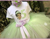 Princess Tiana with Number, Party Outfit,Theme Party,Princess Birthday in Sizes 1yr thru 4yrs