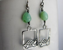 Sterling Silver Turtle and Green Chrysoprase Earrings