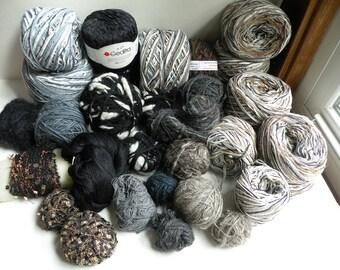 Yarn lot destash 3 lbs. worsted bulky dk fingering lace sport black blue gray white gold metallic hand spun art yarn weave crochet knit i656